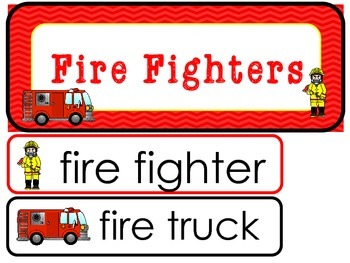 Fire Fighters Word Wall Weekly Theme Posters.