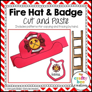 Fire Hat and Badge Cut and Paste