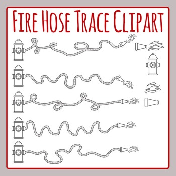 Fire Hose Trace Clip for Fine Motor Control Practice Clip Art for Commercial Use