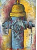 Fire Hydrant in Pencil, Chalk & Watercolor