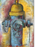 Fire Hydrant in Pencil, Chalk & Watercolor