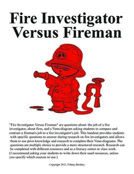Fire Investigator Versus Fireman Fire Week Research Questions and Venn-Diagram