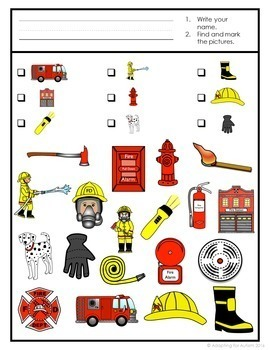 Fire Safety Week Activity: Find It Game for Special Education and Autism