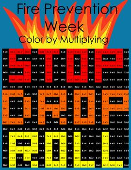 Fire Prevention Week Multiplication Color by Number