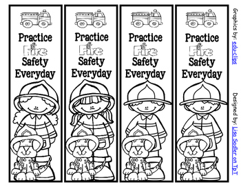 Fire Prevention/Safety Week Bookmarks - 4 Designs Color AND Black and White