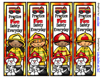 Fire Prevention/Safety Week Bookmarks - 4 Designs Color AN