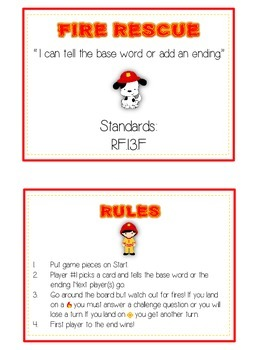 Fire Rescue Inflectional Word Endings - ELA First Grade Game - Word Work Center