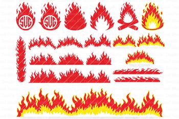 Fire SVG, Flames SVG, Campfire SVG, Fire PNG, Flame Monogram, Flame Clipart.