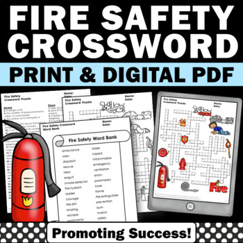 Fire Safety Crossword Puzzle, Back to School Activities Vocabulary Review