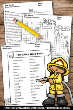 Fire Safety Crossword Puzzle for Fire Safety Week ...