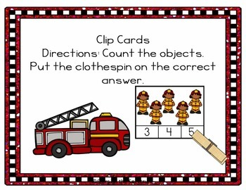 Fire Safety Activities Counting Clip Cards (Fire Safety Week Activities)
