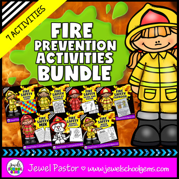Fire Safety Week Activities BUNDLE (Flipbook, Game, Worksheets and Crafts)