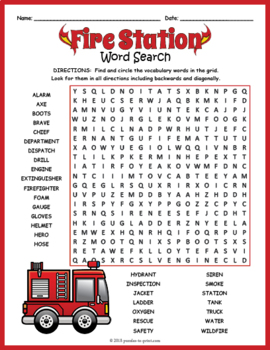 Fire Safety Word Search Puzzle