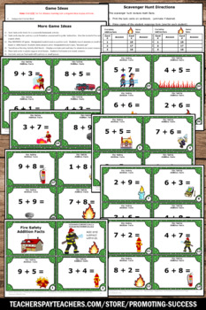 Addition Facts Task Cards, Fire Safety Week Activities,Kindergarten Math Centers