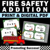 Addition Task Cards, Fire Safety Activities 1st Grade Kindergarten Math Centers