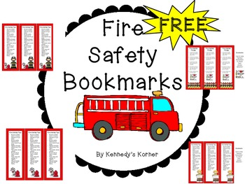 Fire Safety Bookmarks ~ FREEBIE