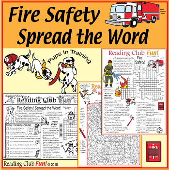Fire Safety Bundle - Activity Set, Word Search, Crossword, Color-In