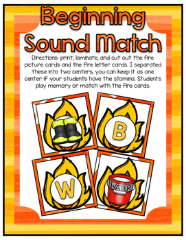Fire Safety Center ~ Beginning Sounds Match