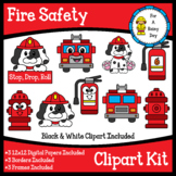 Fire Safety Clipart Kit (clipart, digital papers, borders,