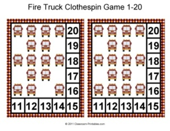 Fire Safety Clothespin Game 1 - 20