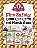 Fire Safety Color Match Clip Cards and Memory Game