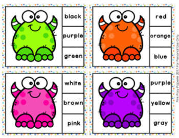 Monster Color Match Clip Cards and Memory Game