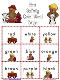 Fire Safety Color Word Bingo