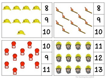 Fire Safety Count & Clip Task Cards 1-30