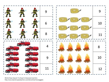Fire Safety Counting to 20 Count and Clip Kindergarten Math Special Education