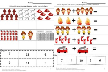 Fire Safety Counting Activities Preschool  Kindergarten Special Education Math