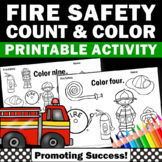 Fire Safety Activities, Number Words Worksheets, Kindergarten Math Coloring