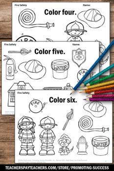 safety equipment coloring pages | Fire Safety Activities, Number Words Worksheets ...