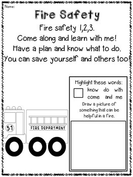 Fire Safety Craftivity and Printables