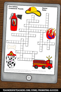 Fire Safety Crossword Puzzle, Fire Safety Worksheets, Fire Safety Activities