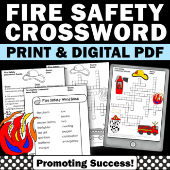 Fire Safety Week Crossword Puzzle No Prep October Preventi