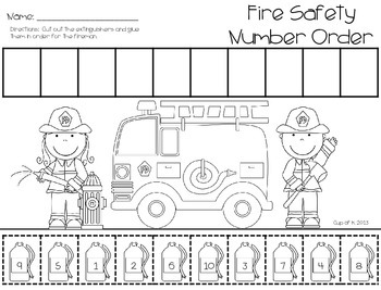 Fire Safety Cut and Paste Numbers to Ten