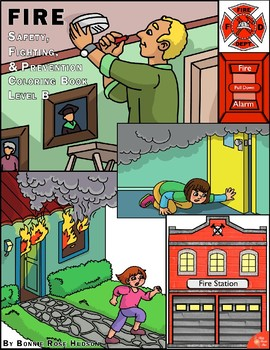 Fire Safety, Fighting, and Prevention Coloring Book-Level B