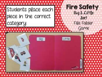 Fire Safety File Folder Game: Big & Little Sort