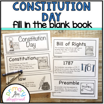 Constitution Day ~ Fill in the Blank Book