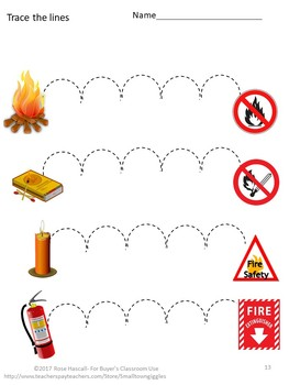 Fire Safety Fine Motor Skills Tracing Activities Special