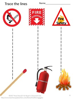 Fire Safety Fine Motor Skills Tracing Activities Special Ed Preschool Autism