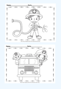Fire Safety Firefighter Coloring Pages 8 Designs By Pink Posy Paperie