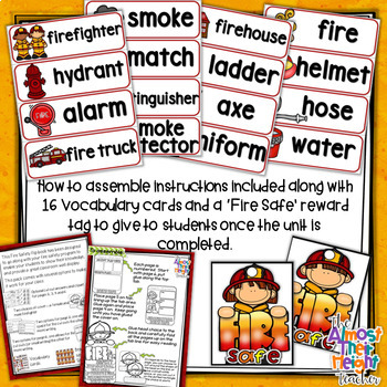 Fire Safety Week Flip Book - Fire Vocabulary Cards - 'Fire Safe' Brag Tag