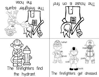 Fire Safety Foldable Emergent Readers PLUS Printable!  Color & B&W!