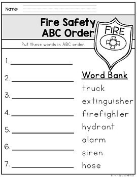 Fire Safety Freebie (K-1) for Fire Prevention Week