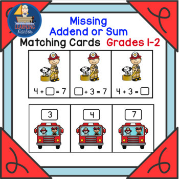 Firefighter Math Addition Find The Missing Addends and Sums