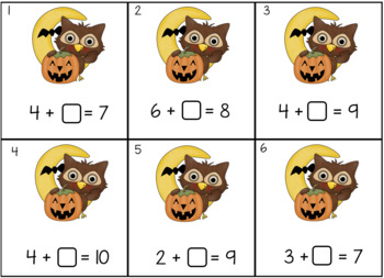 Halloween Owls Find the Missing Number - Addition