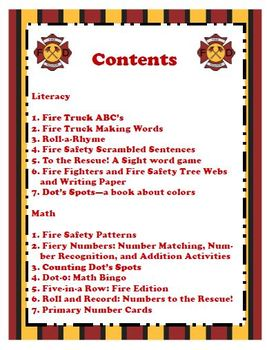 Fire Safety K-2 Math and Literacy Activities