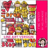 Fire Safety clip art - LINE ART- by Melonheadz