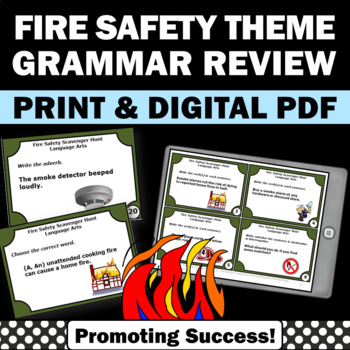 Fire Safety Activities, Grammar Practice Task Cards